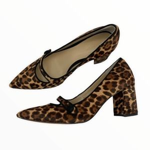 ANN TAYLOR Leopard Print Calf Hair Mary Jane Block High Heel Pumps Size 6.5